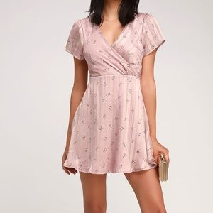 silk pink and gold dress with flowers